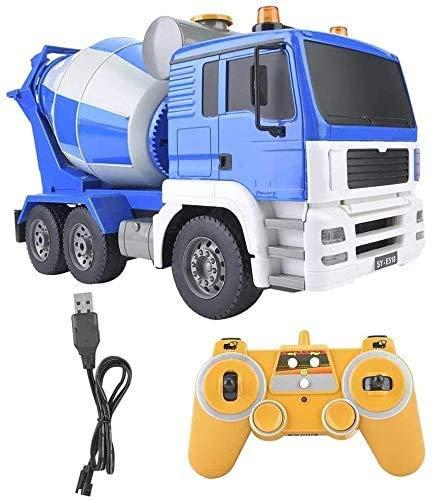 WANGCH 1:20 Mezclador de cemento de control remoto grande Cisterna de juguete Camión de construcción de concreto Camión modelo de mezclador de concreto RC para niños Camión de simulación de 2.4 GHz Ca