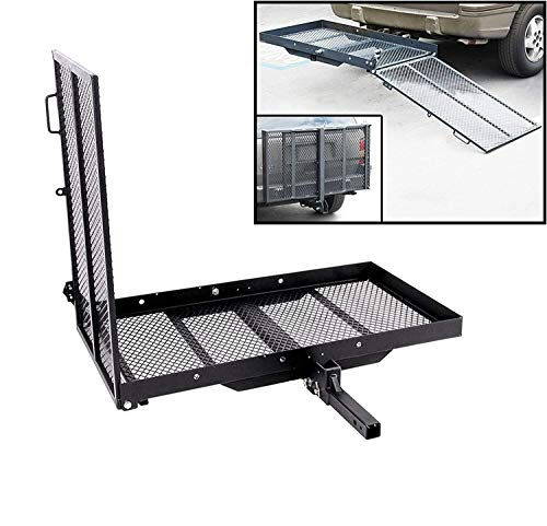 ECOTRIC Trailer Hitch Folding Carrier for Wheelchair Scooter Disability Mobility Rack w/Loading Ramp - 400 lbs Weight Capacity