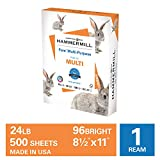 Hammermill Fore Multi-Purpose 24lb Copy Paper, 8.5x11, 1 Ream, 500 Sheets, Made in USA, Sustainably Sourced From American Family Tree Farms, 96 Bright, Acid Free, Economical Printer Paper, 103283R,White