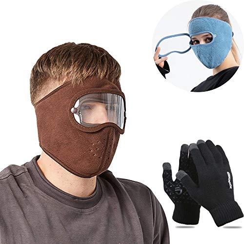 ZXZXC Casco protección Facial, Protección Facial antivaho, Casco Protector Facial Completo Prueba Polvo, Pasamontañas cálidos Invierno con protección para Ojos Hombres Mujeres (Brown)