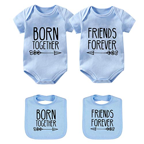 YSCULBUTOL Baby Twins Bodysuits Best Friends Forever Baby Clothes Set with Bibs Girl Outfit with hat (Blue, 0-3 Months)