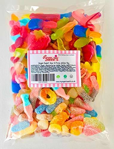 Super Sweets Vegan Sweet, Sour and Fizzy Jellies Assortment 1kg