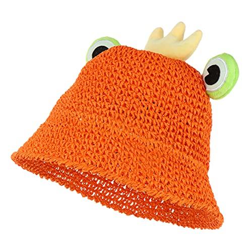 ABOOFAN Linda Rana Cubo Sombreros Niños Verano Paja Sombrero Protección UV Sombrero Niño para Verano Playa Viaje Pescador Gorra Naranja