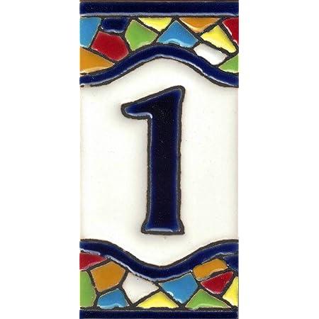 Numeros y Letras en azulejo Ceramica esmaltada Nombres y direcciones LetraA TORO DEL ORO N/úmeros casa Pintados a Mano t/écnica Cuerda Seca Dise/ño Flor Mediana 5,5x10,5 cm