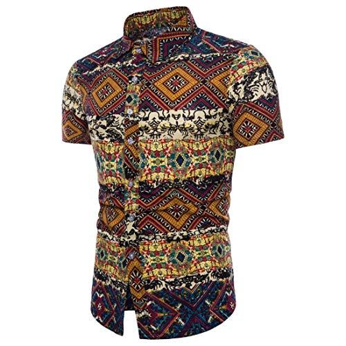 Qiusa Bohe Estampado Floral Camisetas Hombre Personalidad Casual Estilo étnico Delgado de Manga Corta de Lino Camisas de Verano Chaleco Top Ropa Blusa Tallas Grandes M-5XL