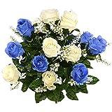 SZWL Ramo De Rosas De Tela De Seda,Ramo De Flores Rosas Oscuro Azul y Blanca Rosas De Plástico Artificiales Novia Ramo De Rosas De Boda De Simulación Arreglo Floral Realista Para La Reuniones Mesa Fam