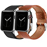 Tobfit Leather Bands Compatible with Apple Watch Band 38mm 40mm 42mm 44mm Women Men Compatible with iWatch SE Series 6 5 4 3 2 1, Black&Brown, 42mm/44mm