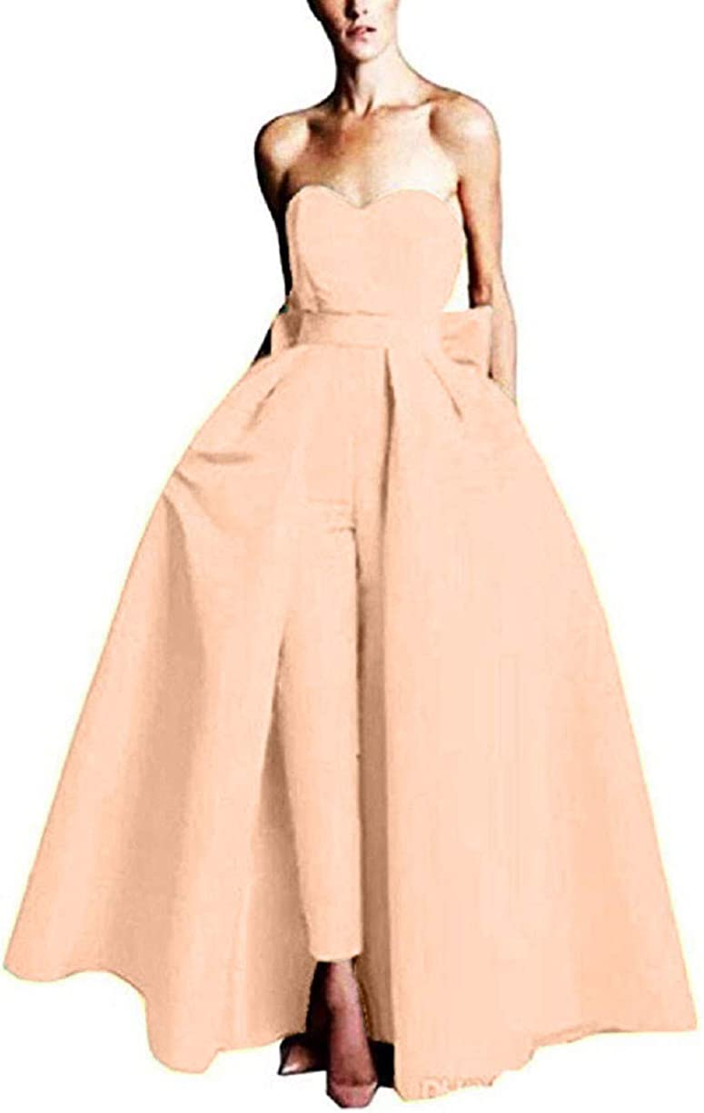 VeraQueen Women's Jumpsuits Evening Dress With Detachable Skirt Prom Gowns Pants
