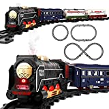 iBaseToy Toy Train Set, Electric Play Train Set with Steam, Light & Sound Battery Operated Train Model Motorized Train Railway Kits Kids Train Set Birthday for 3 4 5 6 Years Old Boys Girls Black