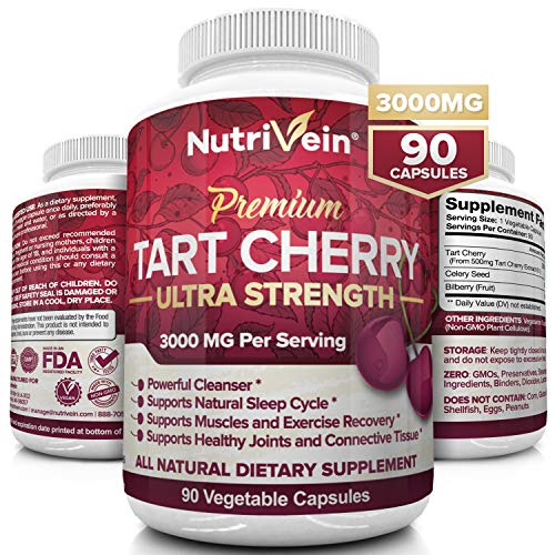 Nutrivein Tart Cherry Capsules 3000mg - 90 Vegan Pills - Antioxidants, Flavonoids - Supports Uric Acid Cleanse, Anti Inflammatory, Muscle Recovery, Joint Pain, Healthy Sleep, Juice Extract Supplement