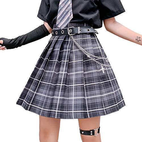 iunong Damen Mini-Faltenrock, kariert, Frauen Mädchen Kurze hohe Taille gefaltete Skater Tennis Schule Rock (schwarz, 36)