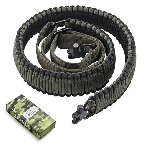 SOMA Rifle Sling 550 Paracord 2 Point Gun Slings Adjustable Shotgun Sling w/Swivels for Outdoor Hunting(Black&Amy Green)