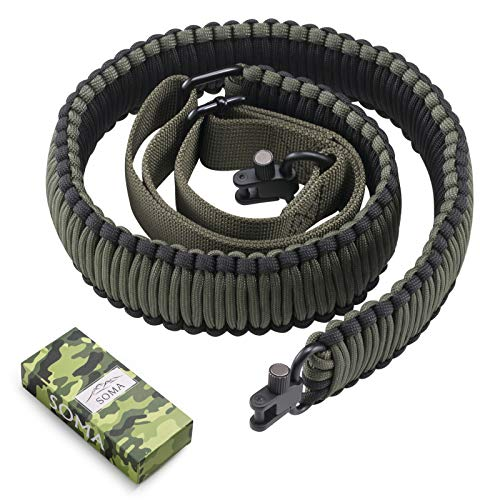 SOMA Rifle Sling 550 Paracord 2 Point Gun Slings Adjustable Shotgun Shoulder Strap w/Swivels for Outdoor Hunting(Black&Amy Green)