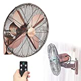 ZXYY Hurricane Wall Fan 18 Inch Electric Cooling Fan Remote Control Ventilation Quiet A ++ Efficient Ventilation 3 Speed Oscillating Fan