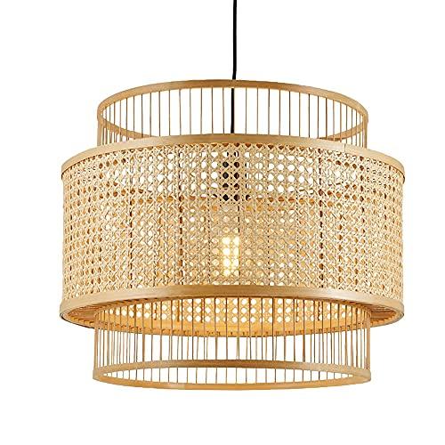 SHUANF Lámpara colgante de bambú de estilo japonés Lámpara de araña de ratán Pantallas de lámpara de mimbre hechas a mano...