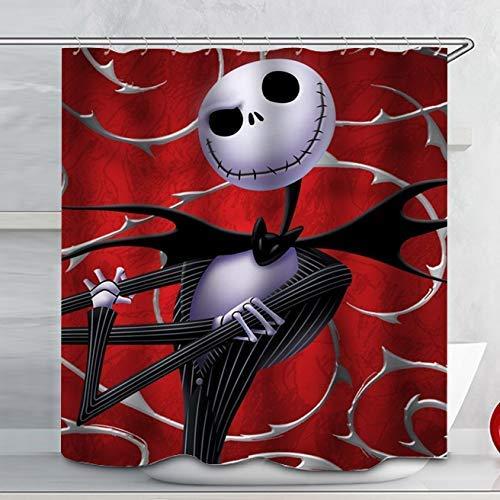 N \ A Disney Nightmare Before Christmas Skull Duschvorhang-Sets Badezimmer Halloween Dekor mit Haken Wasserdicht Waschbar 183 x 183 cm Rot Weiß Schwarz