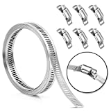 Hose Clamp Stainless Steel DIY 7.9 FT Metal Strapping with Holes + 6 Fasteners Large Adjustable Clamp Worm Gear Hose Clamps Pipe Clamp Band Clamp Air Ducting Clamp for Pipe Automotive Cable Tube