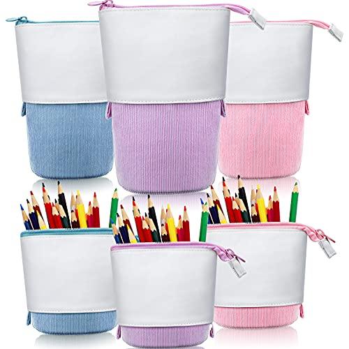 Estuche telescópico de 3 piezas para lápices con cremallera para la escuela, oficina, universidad (rosa, azul, morado)