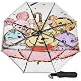 Compact Manual Open/Close Trifold Travel Anti-Uv Umbrella, Windproof Folding Reverse Portable Outdoor Parasol Umbrella Rain&Sun, Disney Winnie Pooh Umbrella Animals