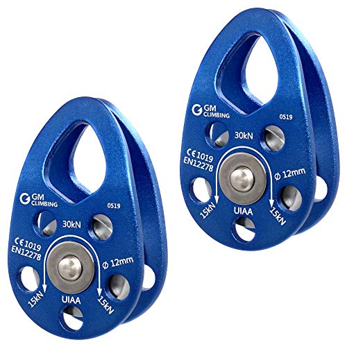 GM CLIMBING UIAA Certified 30kN Swing Cheek Micro Pulley General Purpose (Blue, Pack of 2)