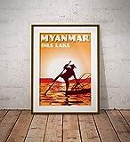 AZSTEEL Vintage Poster Myanmar – Inle Lake Orange –