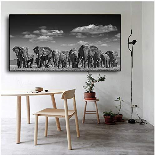 Elefantenbild für Wildtiere, Gemälde auf Leinwand in Weiß und Schwarz, Poster und Drucke, skandinavisch, Wandbild, für Wohnzimmer