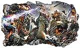 Wandsticker Tätowierungen Godzilla 3D Magic Window Wand