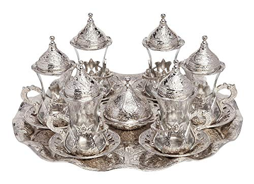 HamamTamam Set of 6 Turkish-Ottoman Style Tea Glasses with Brass Holder Saucer and Spoons Set Silver Plated