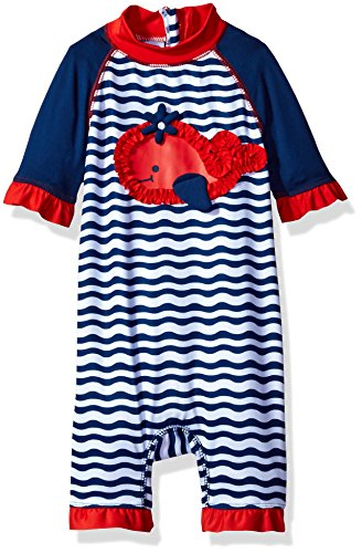 Wippette Baby Girls' Whale W/Waves 1 Pc Swim, Navy, 6/9M