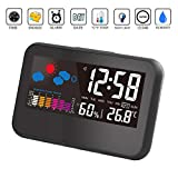 BonZeal Thermometer Hygrometer Smart Backlight Function Easy to Read Digital LED Display Weather Station with Indoor Temperature Weather Forecast Alarm Clock
