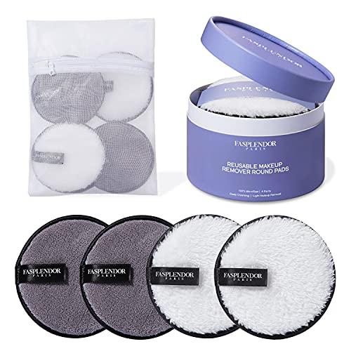 Coton Demaquillant Lavable | 4 pcs Eponge Demaquillante(11.5cm de diamètre) | Enlever Maquillage Ombre à Paupières Mascara | Lingette Demaquillante Lavable avec Sac à Linge pour la Machine à Laver
