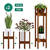 Plant Stand Pack of 2, Stackable&Adjustable Plant Stands Indoor, 2 Tier Indoor Plant Stand Tall 30'', Corner Plant Stand Indoor & Modern Plant Stands Indoor for 8-12'' Pots (Brown)