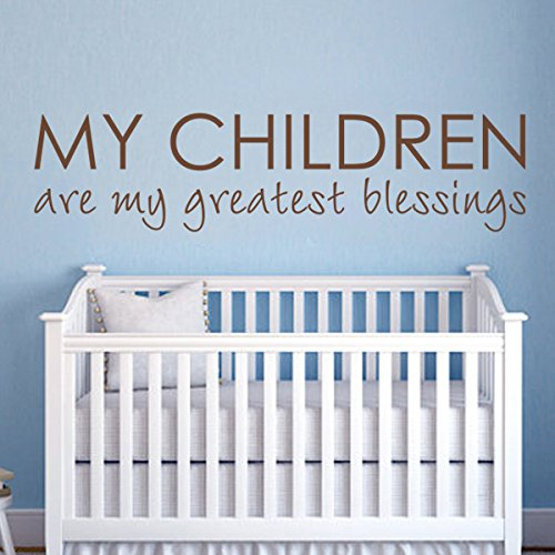 Crèche qutoes-my les enfants sont My Greatest Blessings – Famille Sticker Citation Love Baby Nursery Art Decor Home Decor enfants Chambre Tête de lit murale Custom Graphic (Petit, Blanc)