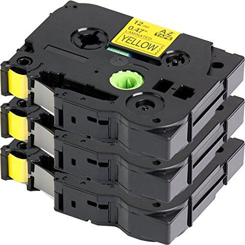 3x Label Tape / Nastro Laminato per BROTHER P-Touch TZe 631 / TZ 631 | nero sur giallo / 12mm x 8m | compatibile per Brother P-Touch