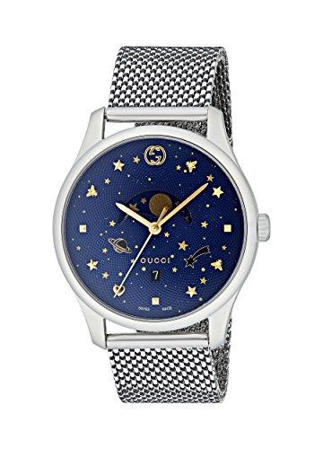 Gucci Unisex Erwachsene Mondphase Quarz Uhr mit Edelstahl Armband YA126328