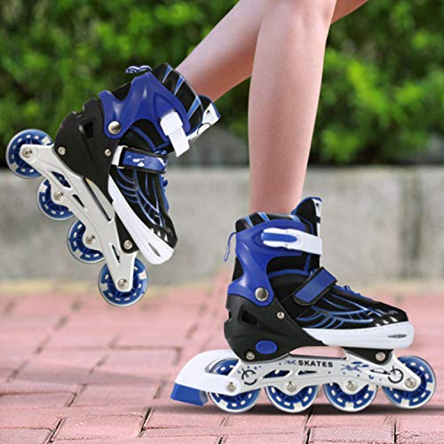 Hicient Roller Blades for Children, Luminous PU Wheels Inline Skates, Comfortable Roller Skates, Adjustable in Size from 31 to 42, Inline Skates for Girls and Boys (Blue, L)