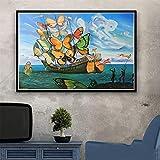 ZMFBHFBH Impresión de Arte en Lienzo Pintura psicodélica Retro Salvador Dali surrealismo Pinturas de Arte de Pared decoración Abstracta Cuadros de Arte 40x60cm sin Marco