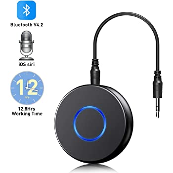 Bluetooth Aux Adapter for Car,SONRU Mini Bluetooth 4.2 Receiver,Wireless Audio Bluetooth Adapter, Portable Hands-Free Car Kits for 3.5mm Audio Devices,TV,Home/Car Stereo Music Streaming Sound System