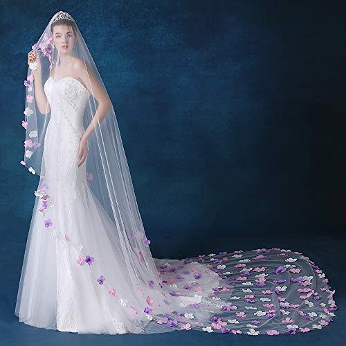 Brautschleier Hochzeit mit Kamm 3 Meter lang Soft Tüll Blumen Deko Kathedrale Schleier mit Langer Schnitt Kante Einlagiger Braut Haarschleier Kapelle Fußboden Schleier Feinhülle zum Brautkleid