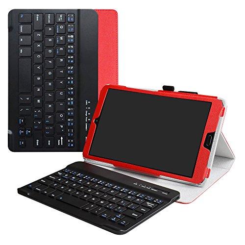 """MediaPad M5 8.4 Bluetooth Teclado Funda,LiuShan Detachable Wireless Bluetooth Teclado (Teclado QWERTY Formato inglés) PU Cuero con Soporte Caso para 8.4"""" Huawei MediaPad M5 8.4 Android Tablet,Rojo"""