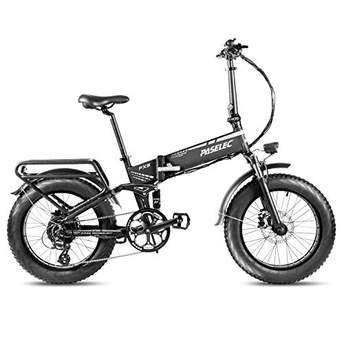 Paselec Electric Bike Fat Folding Bicycle Electirc Folding bikes For Adults Ebike 20 inch Fat Tire E-bike 8 Speed 750w Snow E Bikes with Removable 14Ah Lithium Battery & Power Energy Saving Systerm