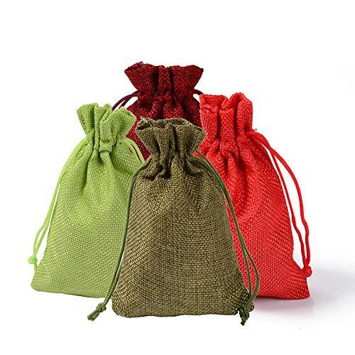 Harddo 24st jutezakken stoffen tas voor adventskalender sieraden gevoelens en doe-het-zelf handwerk, jutezak, geschenkzakjes met trekkoord