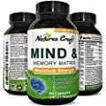 Natures Craft Mind & Memory Matrix Brain Supplement for Adults to Boost Focus + Concentration + Mental Performance - Natural Nootropic Pills for Men & Women - DMAE Bitartrate + Green Tea + Bacopa
