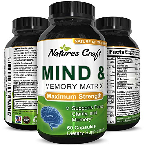 BEST MIND ENHANCEMENT – Mind & Memory supplement for focus and brain performance – enhance productivity at work by enhancing mental alertness – feel more confident and clear headed – long lasting energy boost with L-Glutamine + DMAE Bitartrate IMPROV...