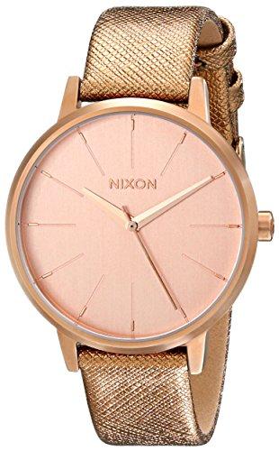 Nixon Kensington Reloj de acero inoxidable para mujer con correa de cuero