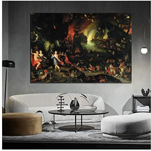 WYLYSD Cuadro De Retrato De Hieronymus Bosch El Jardín De Las Delicias Ilustraciones De Pared para Sala De Estar Decoración del Hogar 20X28 En Sin Marco