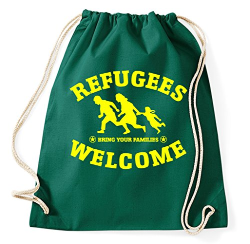 Styletex23 Refugees Welcome Bring Your Families Turnbeutel Sportbeutel, flaschengrün