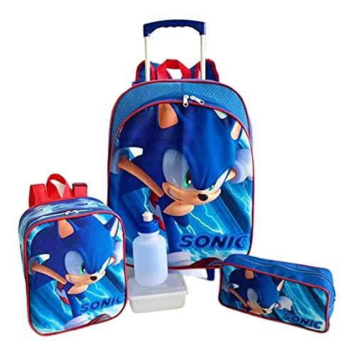 Kit Mochila Infantil Escolar Sonic Rodinhas Tam M F5 Meninos