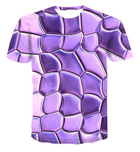 Unisex T-shirt 3D print zomer casual grafische korte mouwen paars plaats T-shirts