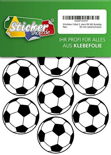 28, Fútbol, pegatinas, 50mm, color blanco/negro, de PVC, pantalla, estampado, autoadhesivo, EM, WM, Bundesliga